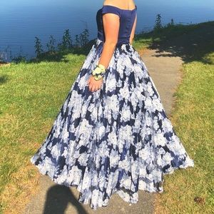 Beautiful Navy Floral Prom Dress